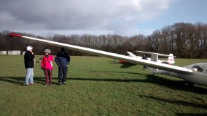 Taking shelter during a brief shower at Stratford Gliding Club