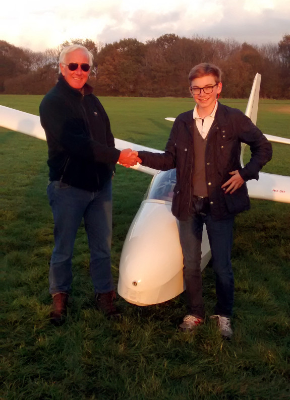 Ashley with Mike C after his first solo.