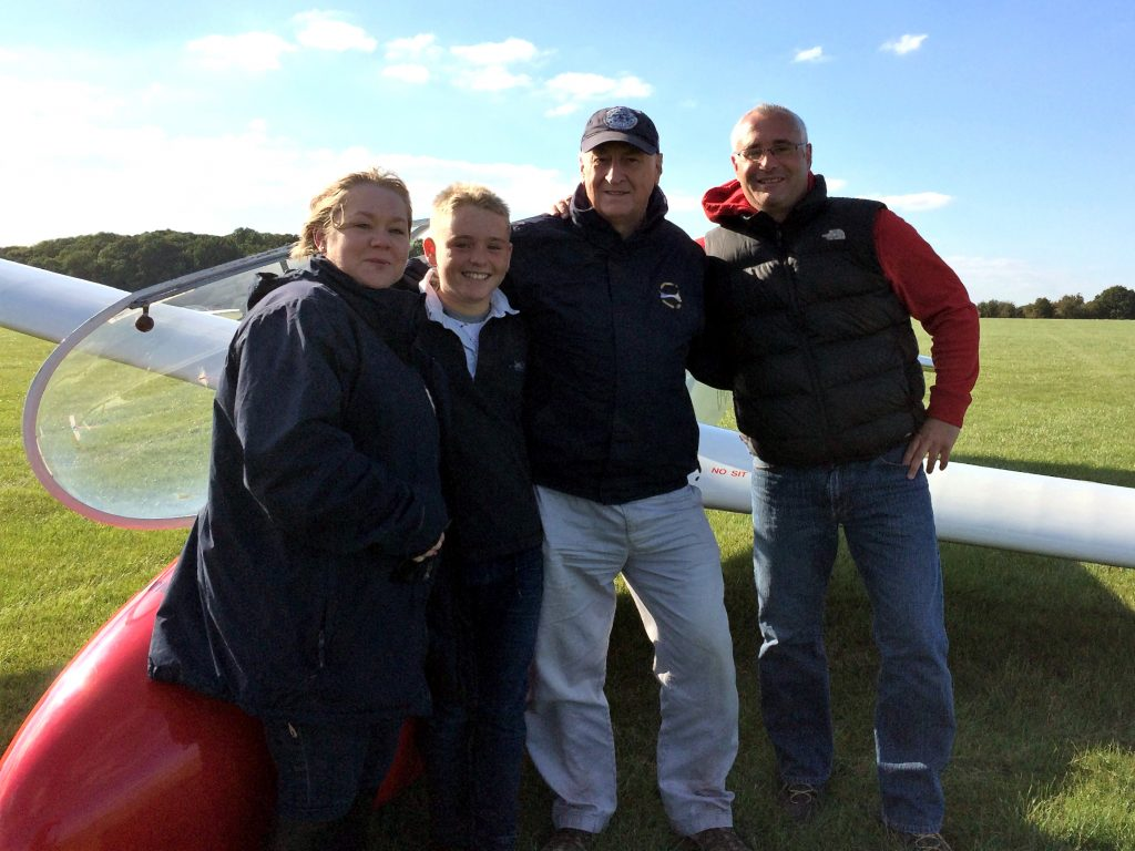 Proud mum Sharon with Ben, instructor Baz and equally proud dad Chris.